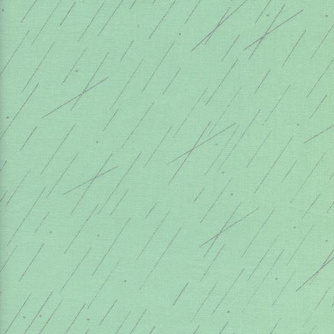 Cotton + Steel Raindrop - precipitation metallic pistachio