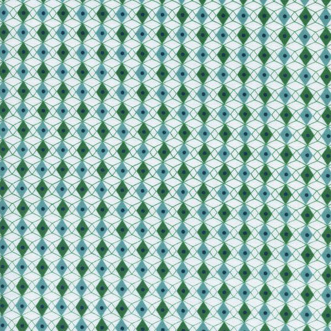 Cotton + Steel Rotary Club - facets - blue green