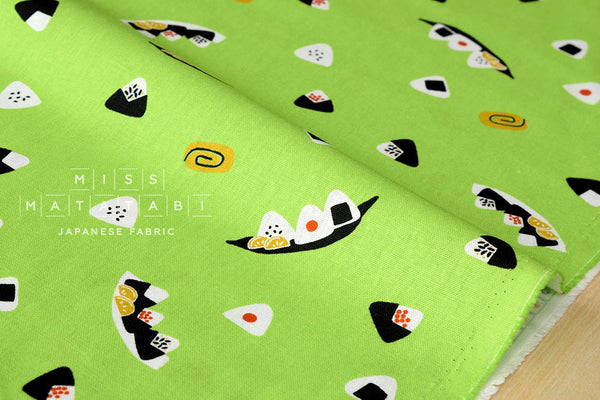 Japanese Fabric - onigiri canvas - green