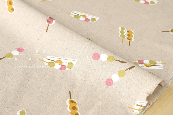 Japanese Fabric - dango canvas - natural, pink, green - fat quarter