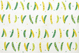 Japanese Fabric - peas canvas - green, white