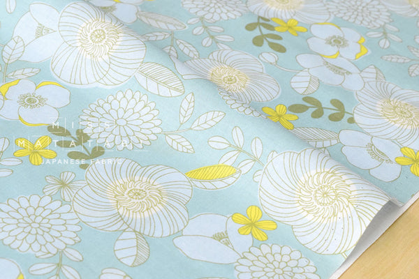 Retro garden - aqua - fat quarter