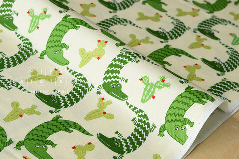 Japanese Fabric Yuwa Crocodile and Cactus - fat quarter