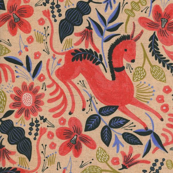 Cotton + Steel Les Fleurs canvas - folk horse - coral