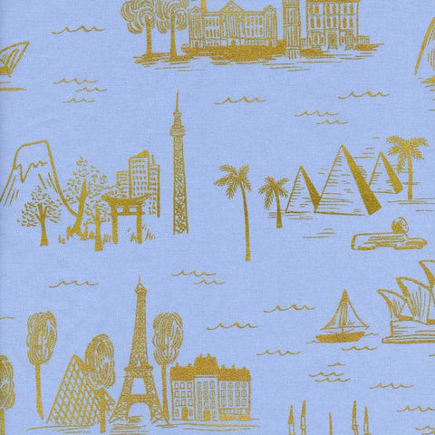 Cotton + Steel Les Fleurs lawn - city toile - pale blue metallic