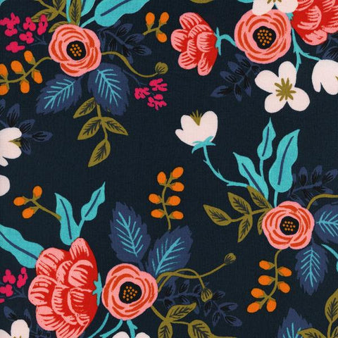 Cotton + Steel Les Fleurs rayon - birch floral - navy