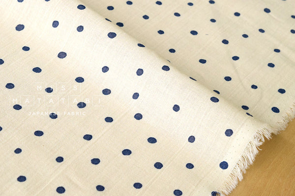 Cotton Voile - starry dots - cream, navy blue