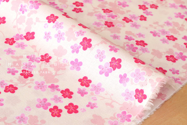 Wagara little Ume blossoms cotton crepe - pink, cream
