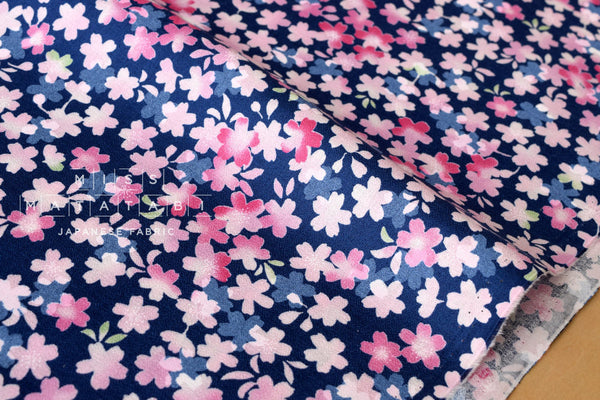 Wagara little Sakura blossoms cotton crepe - navy blue, pink