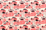 Tiny Farm - pink - fat quarter