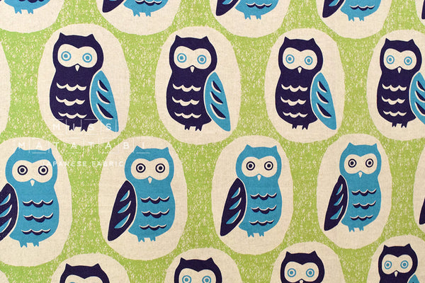 Giant Owls canvas - blue, teal, green