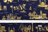 Cotton + Steel Les Fleurs lawn - city toile - navy metallic