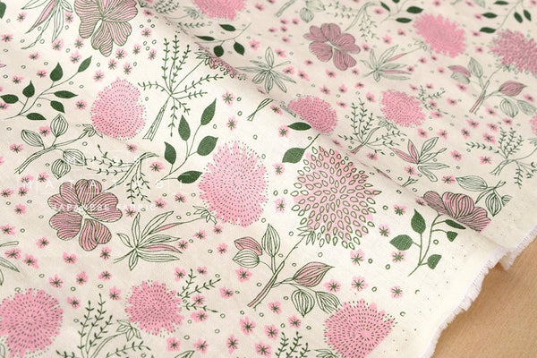 Kei Fabric La vie en Rose linen - pink on cream