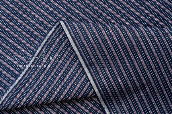 Japanese Fabric - yarn dyed Shijira cotton stripes - navy blue, pink