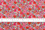 Cotton Seersucker Hiding Panda Floral - red, pink