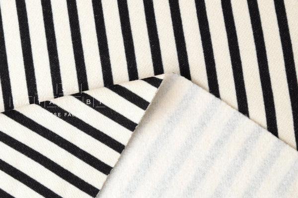 Kiyohara French Terry Fleece - stripes - black
