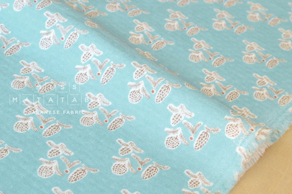 Brushed cotton double gauze - pine cones - blue
