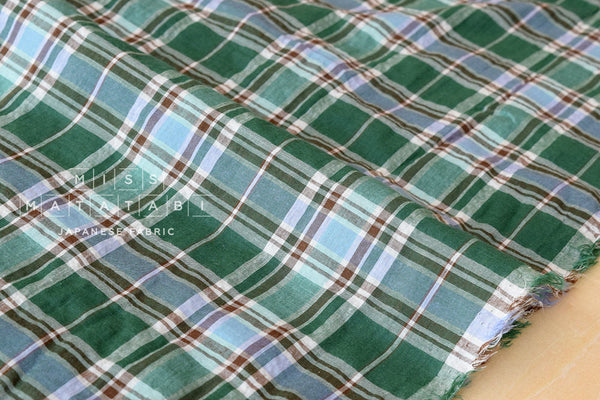 Yarn dyed textured Madras plaid - green