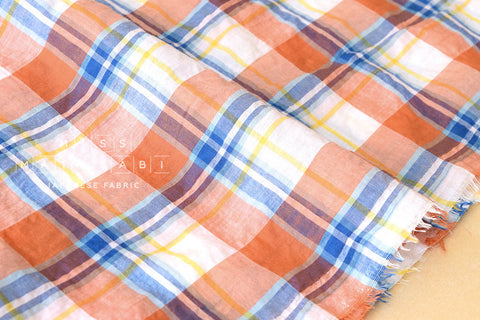 Yarn dyed textured Madras plaid - orange, blue
