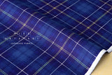 Kokka Tsumiki reversible tartan canvas - royal blue