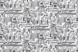 Circuit Board - black, white