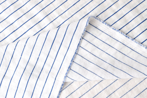 Striped linen - blue, ivory