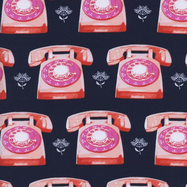 Cotton + Steel Trinket - telephones navy - fat quarter