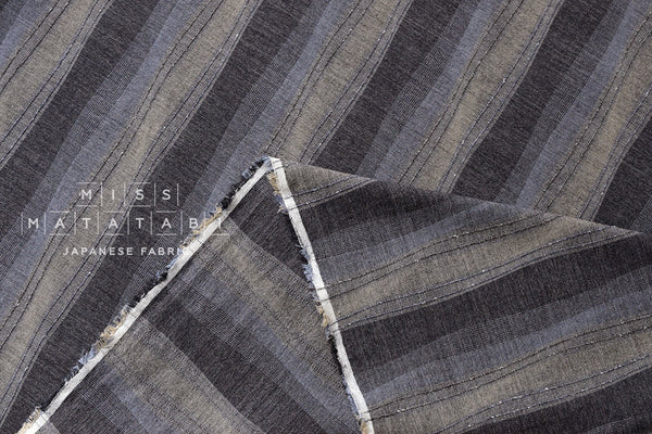 Japanese Fabric - yarn dyed yoroke waves - gray, taupe