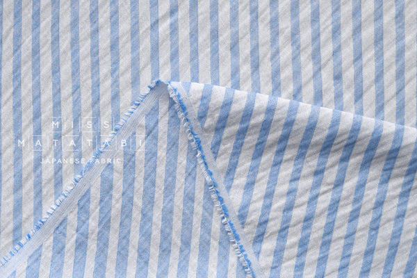 Reversible double gauze - woven candy stripes - blue