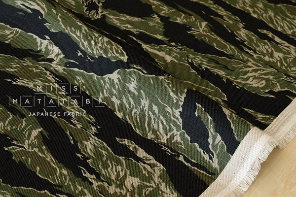 100% linen tiger camouflage - green