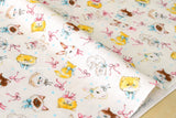 Cats and Bunny double gauze - white