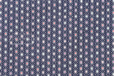 Japanese Fabric Traditional Asa flower II - navy blue