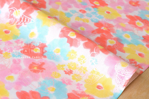 Kokka aquarelle floral parfait - pink, blue, yellow, metallic silver