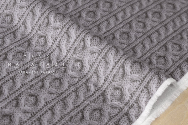 With Reality - faux cable knit double gauze - grey