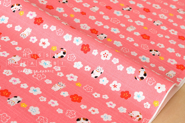 Japanese Fabric Maneki Cat - pink