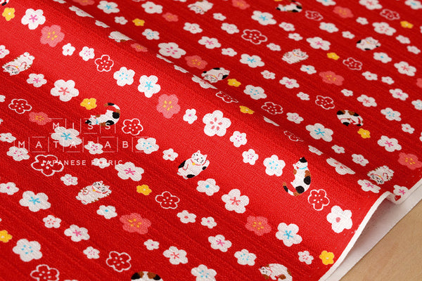 Japanese Fabric Maneki Cat - red