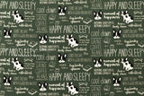 Kokka Happy and Sleepy Bulldog - green - fat quarter
