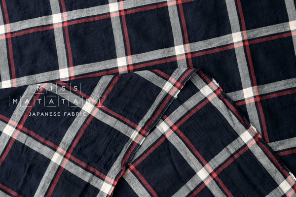 Yarn dyed cotton plaid - navy blue, red