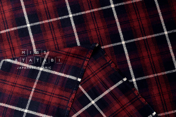 Brushed cotton tartan - red, navy blue