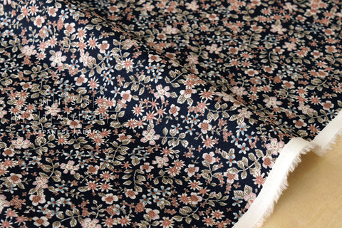 Tiny Flowers II - cotton lawn - dark navy blue