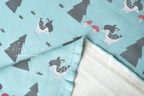 Kiyohara French Terry Fleece - baby deer - blue