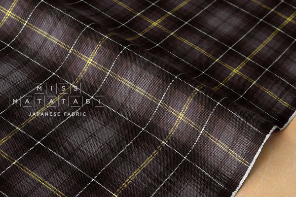 Kokka Tsumiki reversible tartan canvas - brown, grey