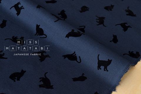 Flocked cats lawn - navy blue