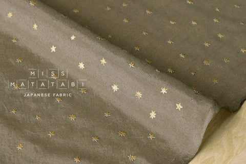 Silk blend metallic stars - khaki, gold
