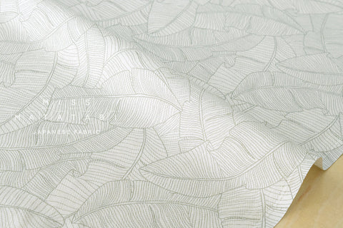 Herringbone leaves - green, cream