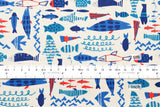 Zodiac Pisces - blue, red - fat quarter