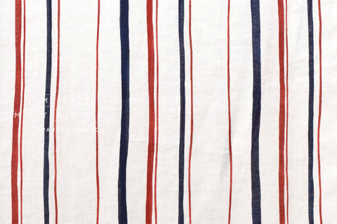 Abstract striped linen - navy blue, red, cream