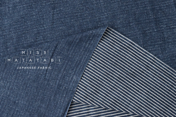 Denim-style reversible double gauze - striped denim blue