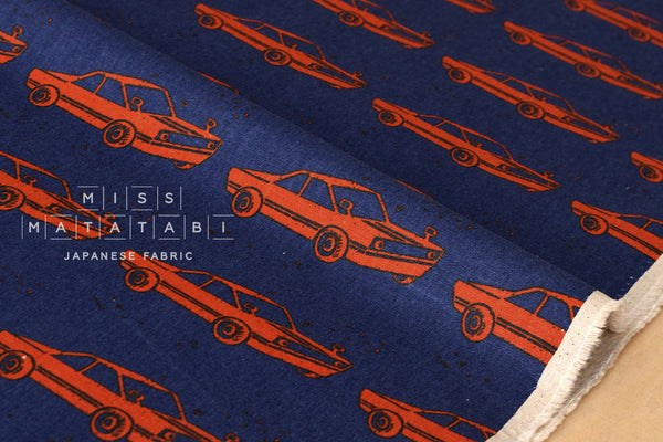 Kokka Echino Nico - retro car - blue, red - fat quarter