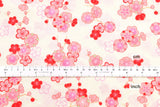 Japanese fabric ume blossom cotton crepe - cream, pink, red
